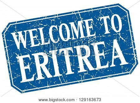 welcome to Eritrea blue square grunge stamp