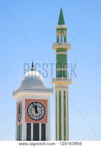 Qatar Doha the Clock Towe and a minaretr in the old city center