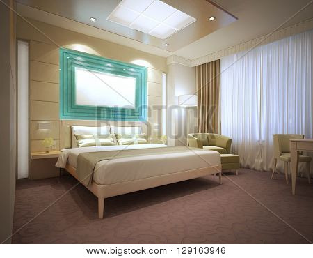 Luxury modern hotel room in light colors. Large wall storage system behind bed. Mockup poster. 3D render