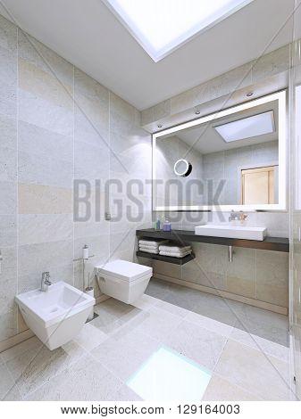 Bathroom in minimalist design. Using of large lamps in modern interior. 3D render