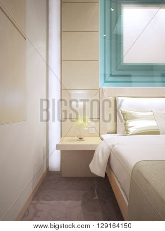 Bed with wall mounted bedside table. Beautiful wall molding in both sides of bed. Glass decorations in turquoise color. 3D render