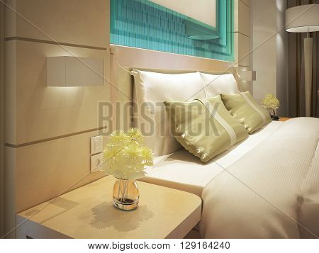 King sized bed in a business hotel room. Fresh flowers in a vase. Turquoise glass decorations. 3D render