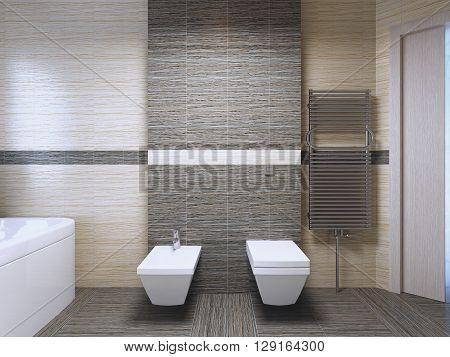 Bathroom with zebrano tile trend. 3D render
