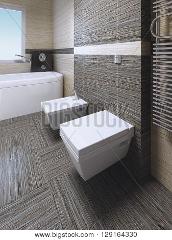 Toilet and bidet in modern bathroom with zebrano striped ceramic tile. 3D render