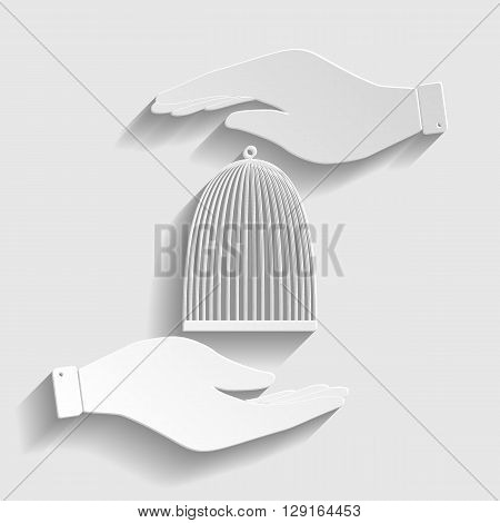 Bird cage sign. Save or protect symbol by hands. Paper style icon with shadow on gray.