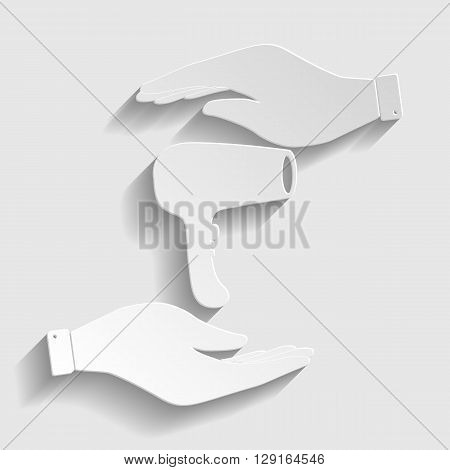 Hair Dryer sign. Flat style icon vector illustration.