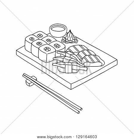 Sushi set and chopsticks vector in hand drawn style (draw on infinite design add)