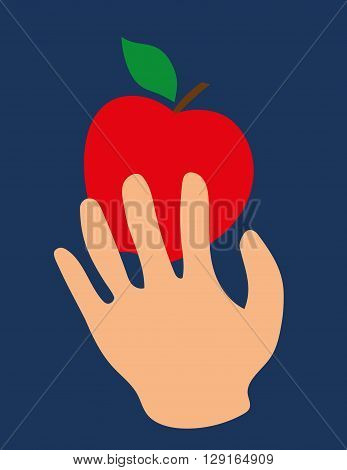 Stylized human hand reaching for or catching a bright red apple