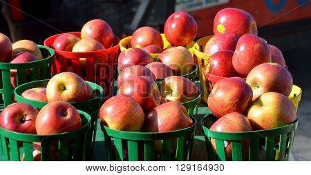 Red Apples for sale at outdoor market place.
