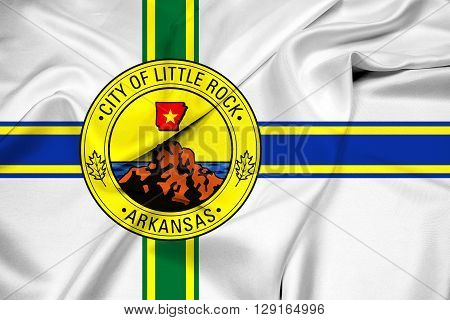 Waving Flag of Little Rock Arkansas, with beautiful satin background.