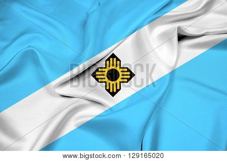 Waving Flag of Madison Wisconsin, with beautiful satin background.
