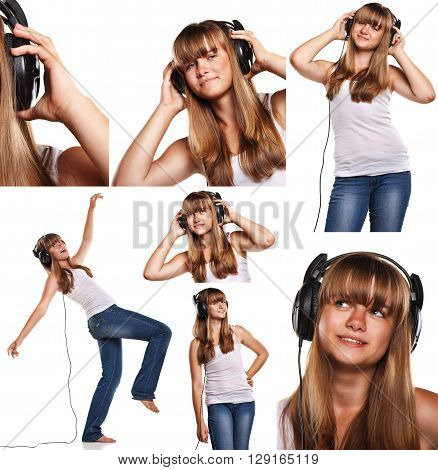 Set of images of smiling teen girl with headphones listening to music isolated on white background