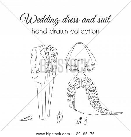 Wedding dress and suit illustration. Sketchy style. Hand drawn bride and groom ceremony wear design. Wedding clothes set.