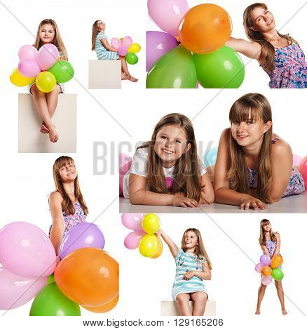 Set of images of happy children with colorful balloons celebrating isolated onwhite background