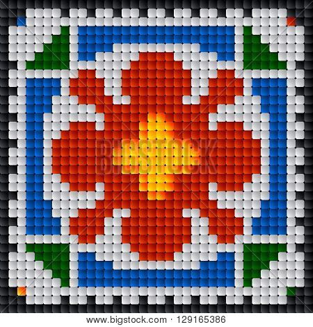 A Traditional Romanian Floral Embroidery Square Tile