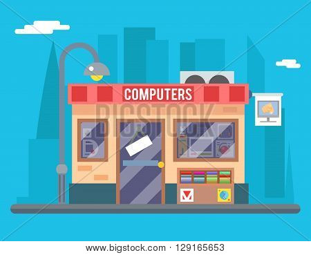 Computer Shop Interior Seller Goods Offer Sale Icon Flat Design Character City Background Vector Illustration