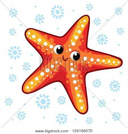 Starfish. Cartoon starfish vector illustration. Sea animal Starfish isolated on a white background.