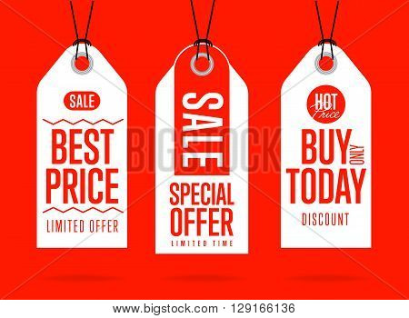 Sale tag vector isolated. Sticker with special advertisement offer. Best price tag. Buy today label. Special offer tag.