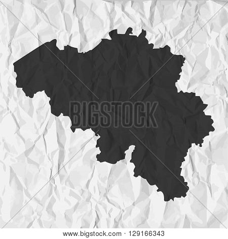 Belgium map in black on a background crumpled paper