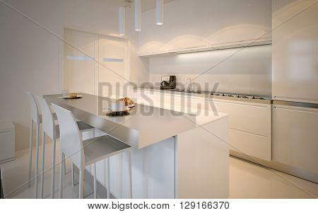Idea of scandinavian kitchen. Glossy cabinets acrylic working countertops neon lamps. 3D render