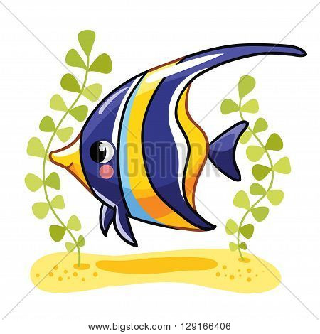Cute fish zanclus in vector illustration. Tropical reef fish isolated on white background. Kids fish.