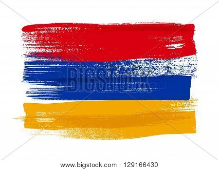 Armenia colorful brush strokes painted national country Armenian flag icon. Painted texture.
