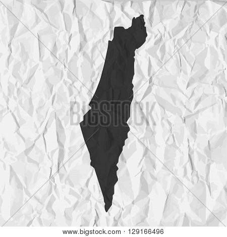 Israel map in black on a background crumpled paper