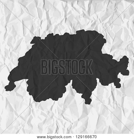Switzerland map in black on a background crumpled paper