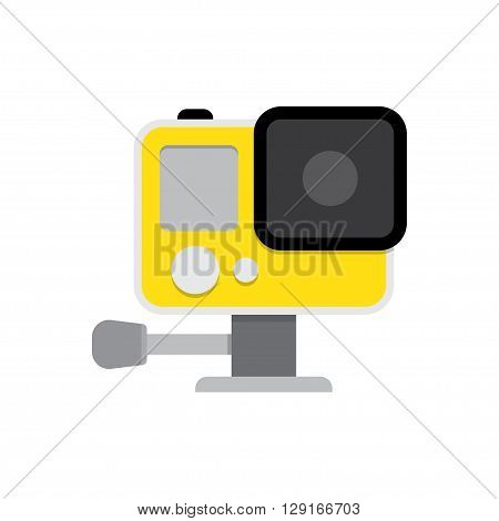 Action camera in waterproof box. Equipment for filming extreme sports. vector illustration isolated on white background