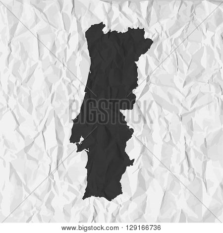 Portugal map in black on a background crumpled paper