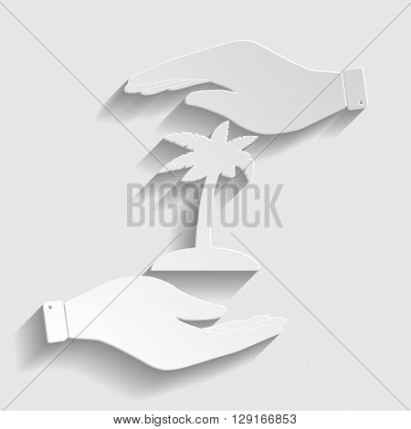 Coconut palm tree sign. Save or protect symbol by hands. Paper style icon with shadow on gray.