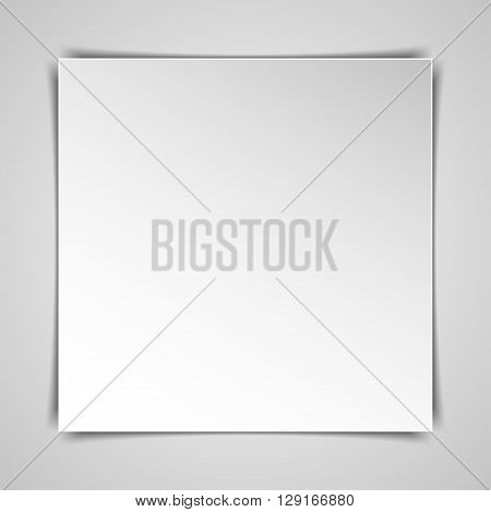 Blank square hardcover album template on white background. Vector illustration.