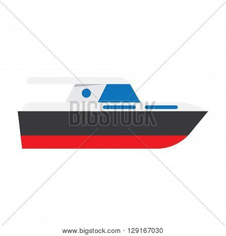 Yacht boat sign icon vector illustration. Flat design style