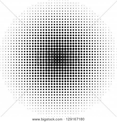 Pop art round elements. Halftone black dots on white background.