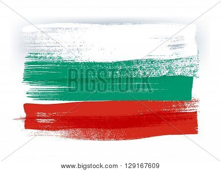 Bulgaria colorful brush strokes painted national country Bulgarian flag icon. Painted texture.