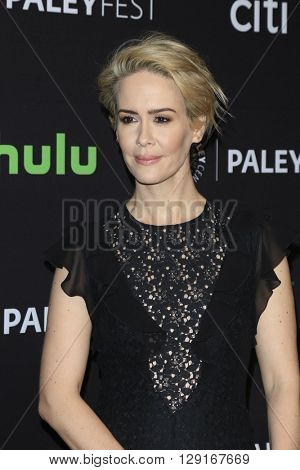 LOS ANGELES - MAR 20:  Sarah Paulson at the PaleyFest 2016 - American Horror Story: Hotel at the Dolby Theater on March 20, 2016 in Los Angeles, CA