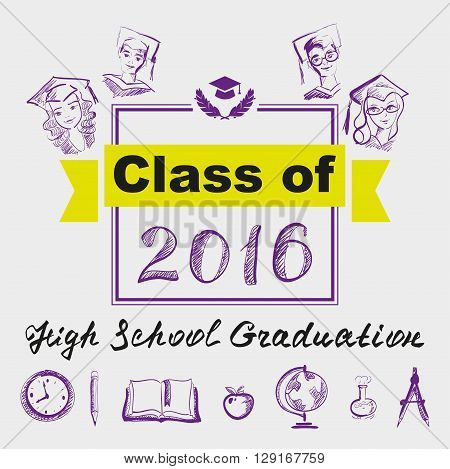 High school graduation. Class of 2016. Illustration in vector format