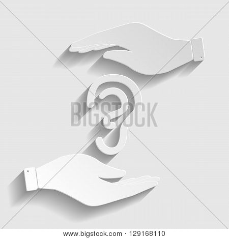 Human ear sign. Save or protect symbol by hands. Paper style icon with shadow on gray.