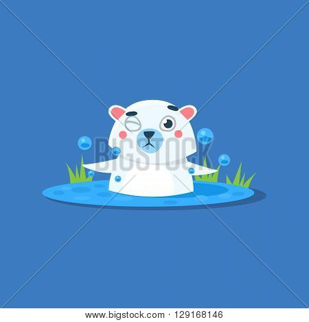 Bathing In Ice-hole Polar Bear Flat Primitive Geometric Design Vector Icon Isolated On Blue Background