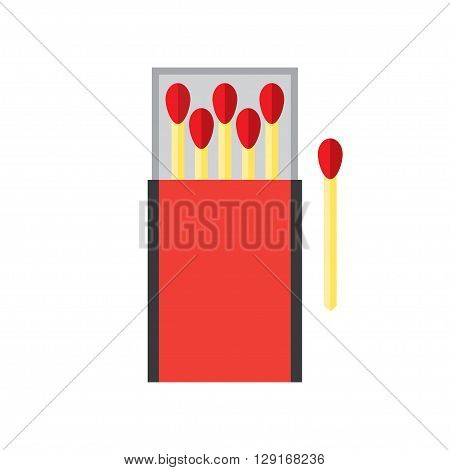 matchbox and matches vector illustration. Flat icon isolated on a white background
