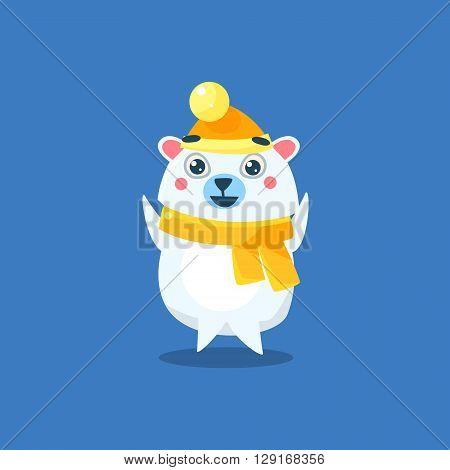 Winter Dressed Polar Bear Flat Primitive Geometric Design Vector Icon Isolated On Blue Background
