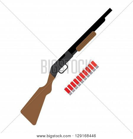 Shotgun flat icon. vector illustration. Flat icon isolated on a white background