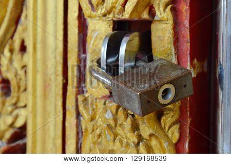 iron master key lock on the door