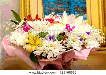 bouquet of lilies chrysanthemums treated by pasteurization