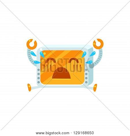 Crying Little Robot Emoji Simple Flat Vector Icon In Childish Cute Style Isolated On White Background