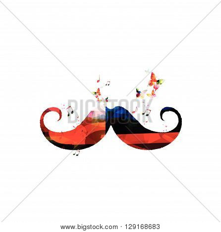 Vector illustration of colorful mustaches with butterflies