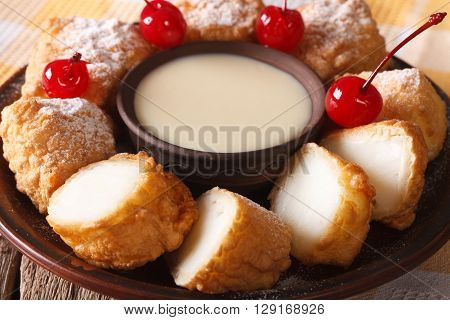 Fried Milk Dessert With Condensed Milk Close-up. Horizontal