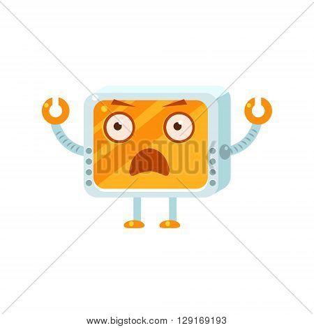 Shocked Little Robot Character Simple Flat Vector Icon In Childish Cute Style Isolated On White Background