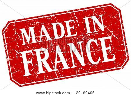 made in France red square grunge stamp