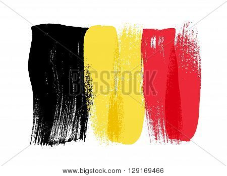 Belgium colorful brush strokes painted national country Belgian flag icon. Painted texture.